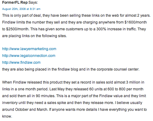 FindLaw SEO selling links
